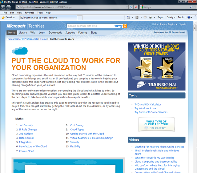 OakLeaf Systems: Windows Azure and Cloud Computing Posts for 8/27/2010+