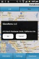 Screenshot of GlassRenu Job Estimation Tool