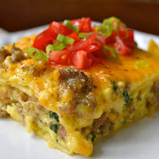 Sausage, Egg and Spinach Overnight Casserole.