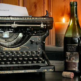 Writers Life by David W Hubbs - Artistic Objects Other Objects ( wine, books, typewriter, glass of wine, vintage typewriter )