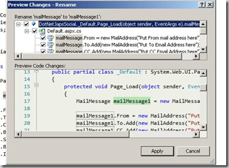 Preview dialog for visual web developer 2010