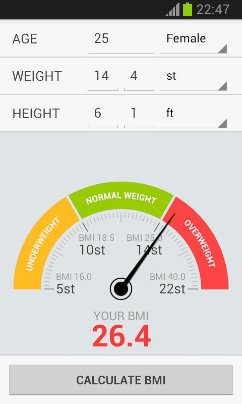 BMI Weight Calculator - screenshot