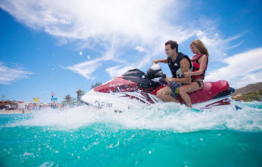 Jet skiing on St. Maarten.
