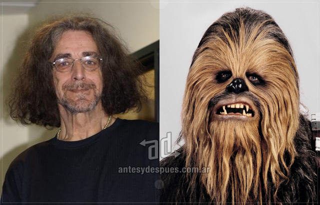 Peter Mayhew behind the mask