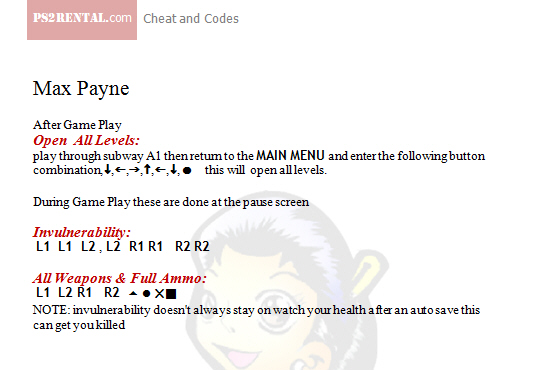 Cheat codes for max payne 3 xbox 360.