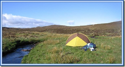 An idyllic wild camp by the River Enrick on 14 May 2007