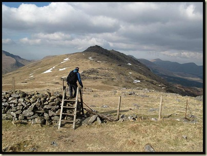 The ladder stile at the col leading to Moel Lefn