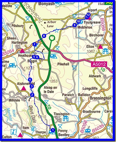 The day's route - 23 km (14 miles), 760 metres ascent, 5.75 hours plus stops, and G + M continued to Alport