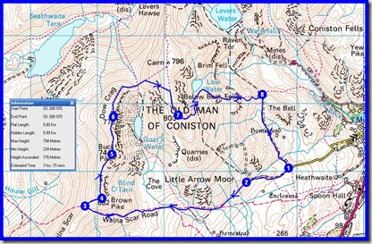Today's route - 10 km, 780 metres ascent, 3.5 hours