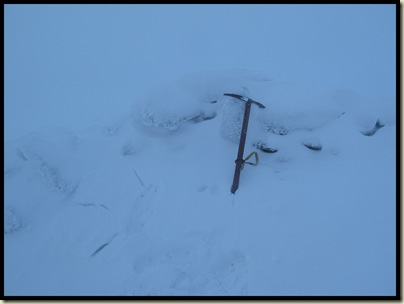The summit of Y Garn, 947 metres, was in cloud