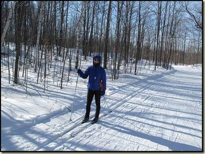 Sue enjoys a gentle descent on trail 5, Gatineau Park
