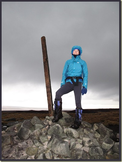 Sue finally makes it through the snow storm to Bleaklow Head