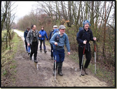 Sue, Tom, Sue, David, Graham and a clown, on the soft surface of the Trans-Pennine Trail