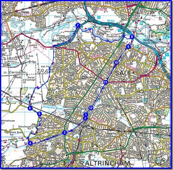 Today's route - 27/2/11 - just over 2 hours for 17km on the flat, with mud...