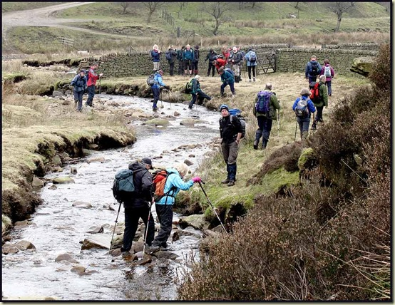 Crossing the River Ashop in Lady Clough