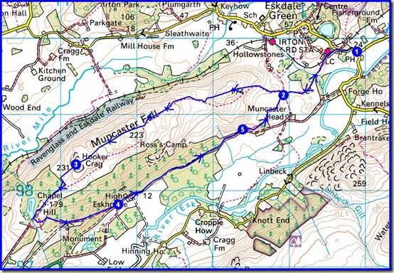 Our route over Muncaster Fell - 11 km, 400 metres ascent, 3.8 hours