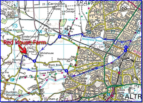 A circuit from Timperley - 12 km with 17 metres ascent (approx)