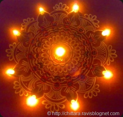 Diwali Rangoli With Lights Chittara Rangoli Pattern