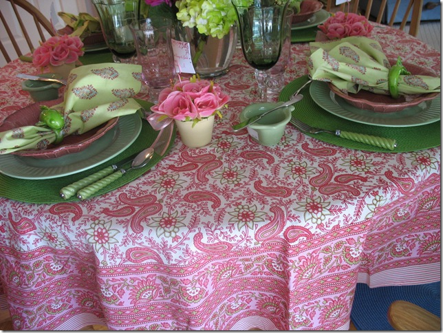 Lime Green Napkin With A Pink Paisley Design Swirl Flatware