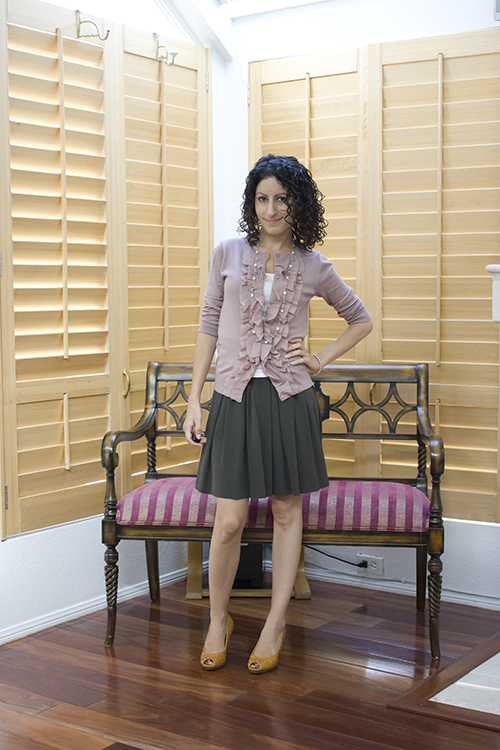 Petite Outfit: Dusty Pink and Military Green