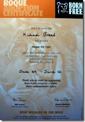 Born Free Adoption Certificate and sponsorship