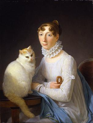 La dame avec son chat - Painted by Marguerite Gérard who worked with and who was the sister in law of Jean-Honoré Fragonard