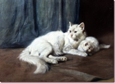 Arthur Heyer white Persian cat and kitten