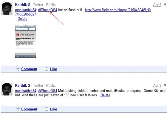 Google Buzz hyperlinks twitter hash tags « Did I Know?