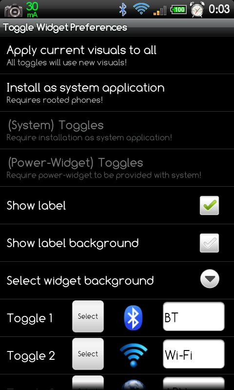 Multi Toggle Widget - screenshot