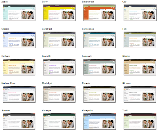 Sharepoint 2010 site theme screenshots for Sharepoint 2010 branding templates