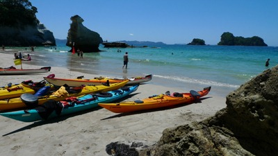 Kayaks sitting at Cathedral Cove