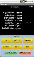 Screenshot of TaxMode: income tax calculator