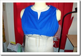 Front view of bodice attached to lining