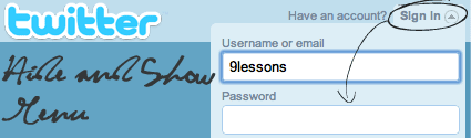 Twitter like Login with Jquery and CSS.