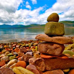 Gorgeous Stones, MdDonald Lake, Montana by Kathleen Koehlmoos - Nature Up Close Rock & Stone ( pretty stones, pretty stones lakeshore, lake mcdonald montana, pretty stone tower, glacier national park,  )