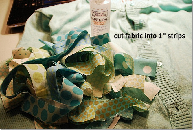 green sweater cut fabric