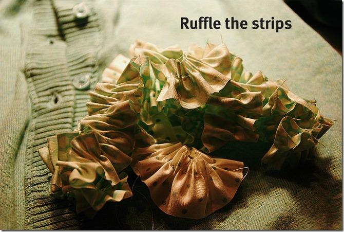 green sweater ruffle strips