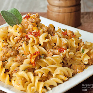 Fusilli with Crumbled Sausage, Sage and Orange