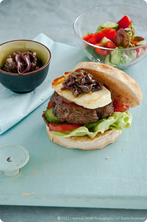 Spiced Lamb Burgers with Caramelized Halloumi Cheese (0005) by Meeta K. Wolff