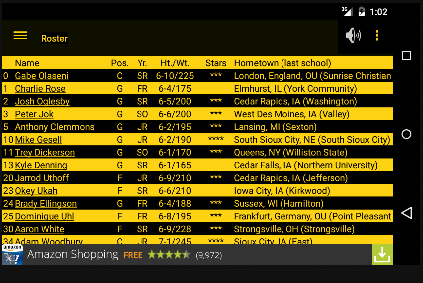 Hawkeye Basketball Schedule- screenshot