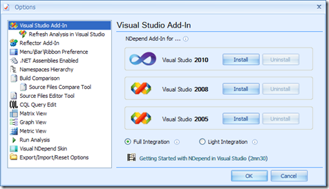Instalar plugin NDepend en Visual Studio