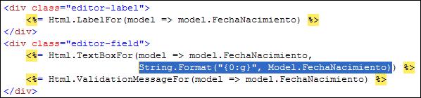 TextBoxFor con propiedades de tipo fecha