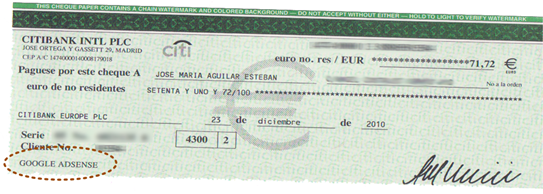 Peaso de cheque