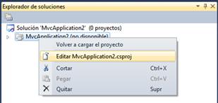 Menú contextual > Editar proyecto