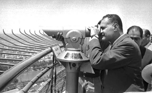 Nasser in the inauguration of the tower