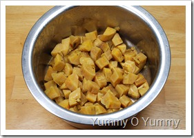 Cooked raw banana cubes