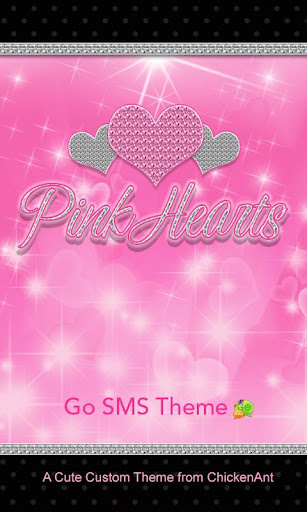 Pink Hearts Go SMS Theme