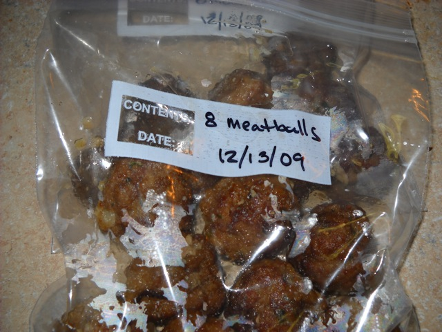 meatballs put in plastic baggies ready to freeze