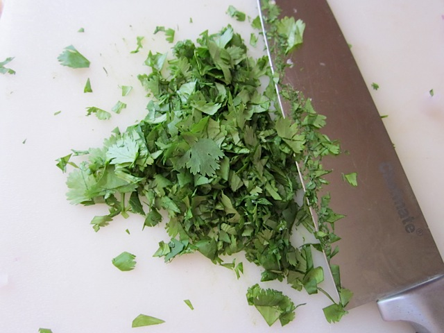 diced cilantro with knife