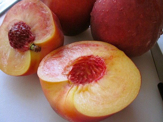 fresh peaches cut in half